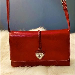 Brighton red crossbody leather organizer wallet
